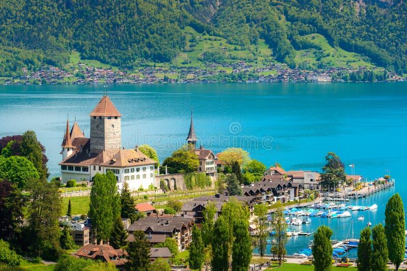 Landscape of Spiez castle on lake Thun in Bern, Switzerland stock images