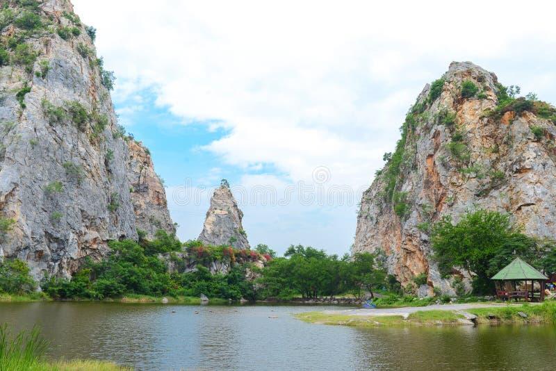 Khao Ngu Stone Park in Ratchaburi, Thailand. Landscape of Stone mountains and blue sky, nature fresh background, Khao Ngu Stone Park in Ratchaburi, Thailand royalty free stock images