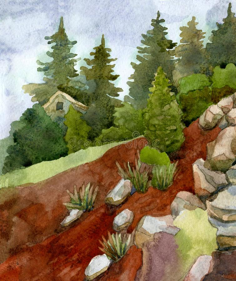 Landscape with stones, flowers, trees and pines against the sky. Watercolor illustration vector illustration