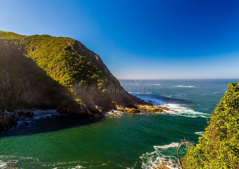 Landscape at the Storms River Mouth at the Indian Ocean. In South Africa royalty free stock photography