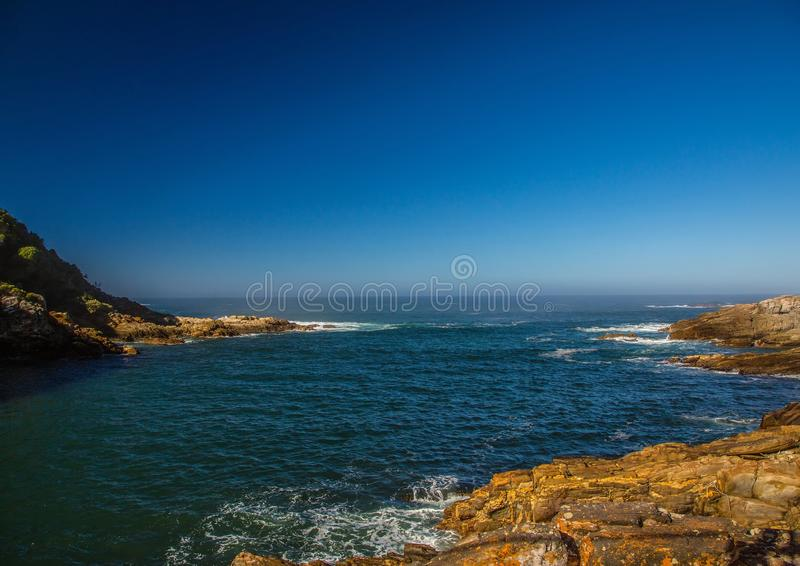 Landscape at the Storms River Mouth at the Indian Ocean. In South Africa stock photos