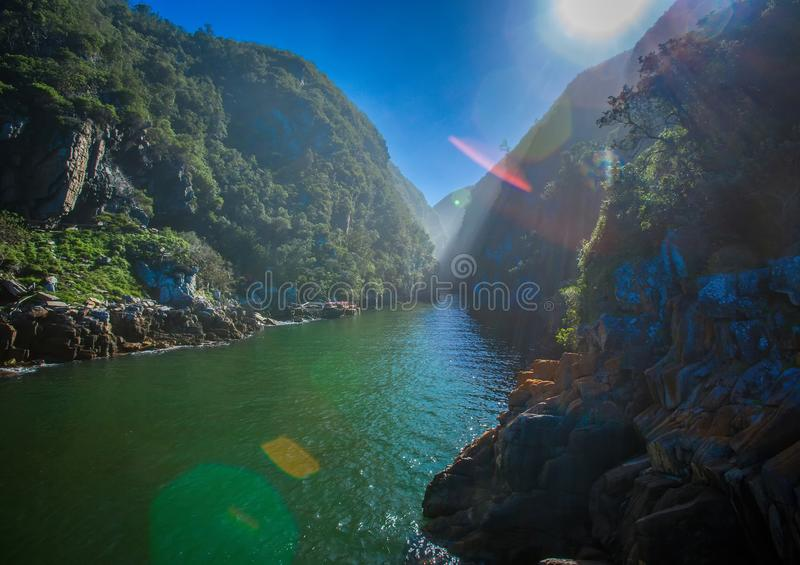 Landscape at the Storms River Mouth at the Indian Ocean. In South Africa royalty free stock image