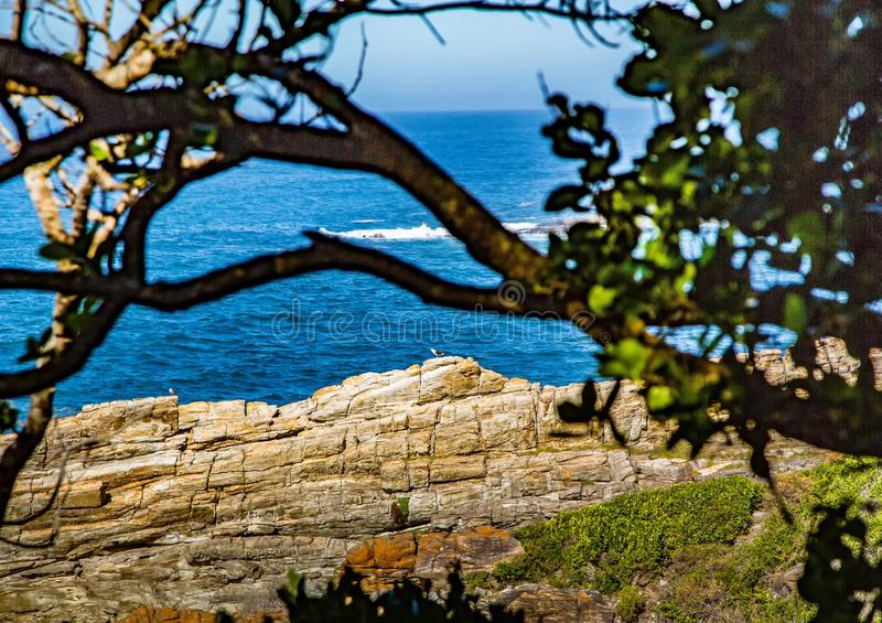 Landscape at the Storms River Mouth at the Indian Ocean. In South Africa royalty free stock photo