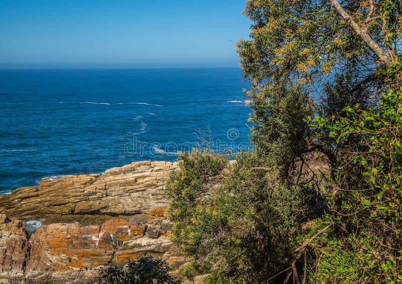 Landscape at the Storms River Mouth at the Indian Ocean. In South Africa royalty free stock photos