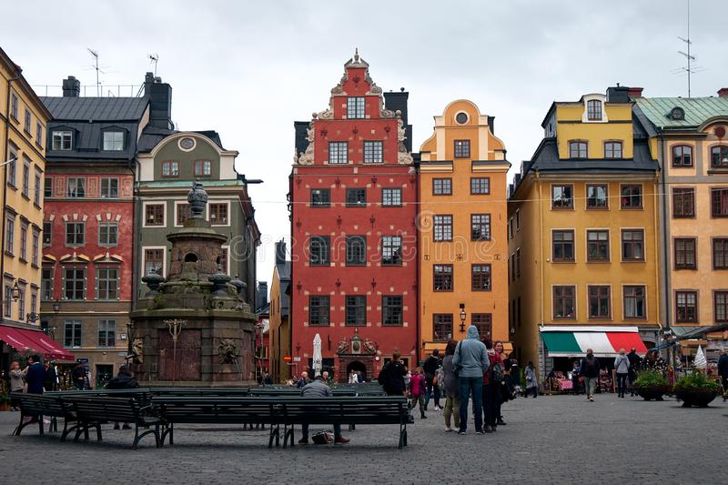 The Landscape of Stortorget square in Gamla Stan island, Stockholm, Sweden stock photo