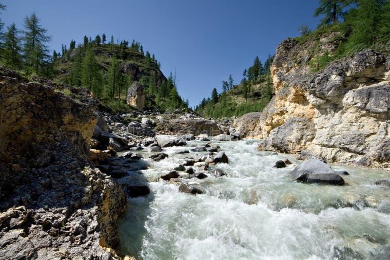 Landscape.Stream do rio da montanha. Sibéria, Rússia. imagens de stock
