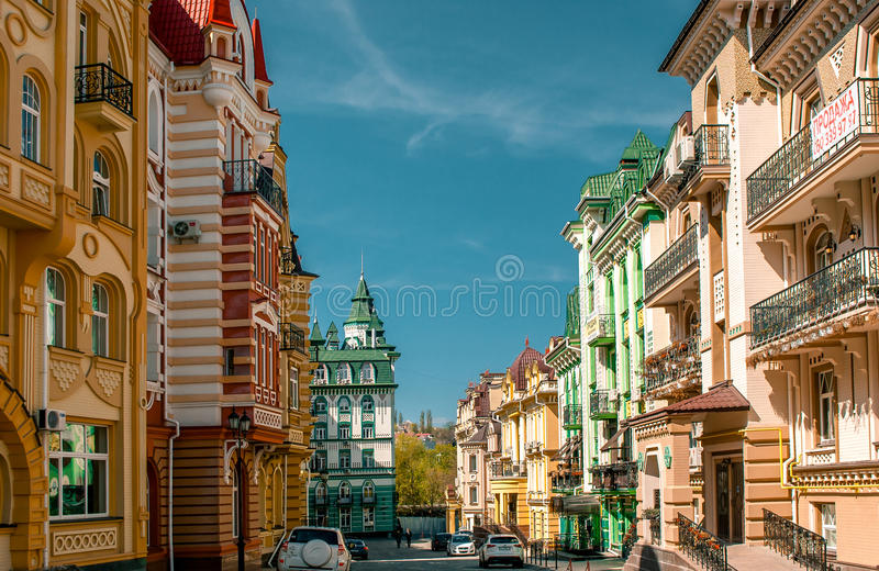 Landscape Street in Kiev, Ukraine. Colorful houses on the Landscape avenue in Kiev, Ukraine royalty free stock images
