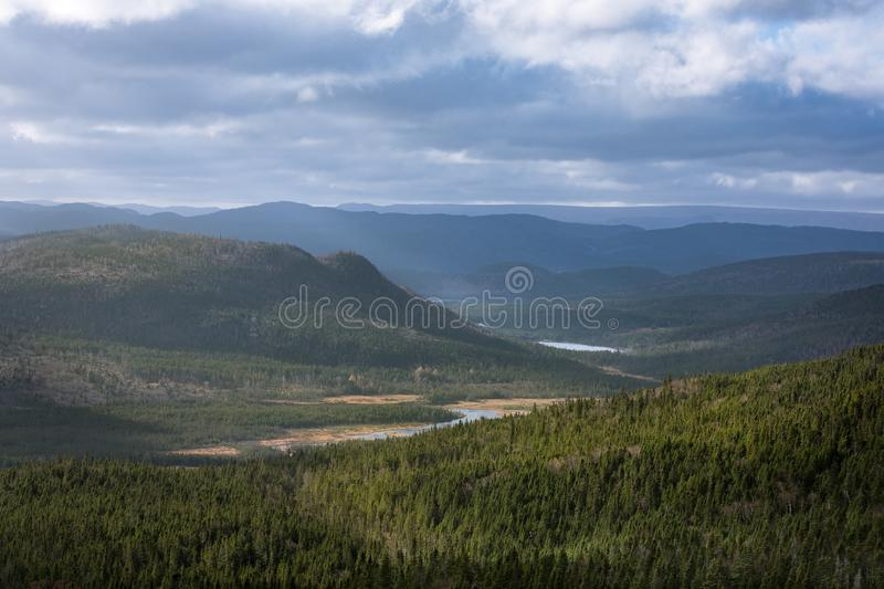 Landscape of stunning valley in Gros Morne, Newfoundland and Lab royalty free stock photography