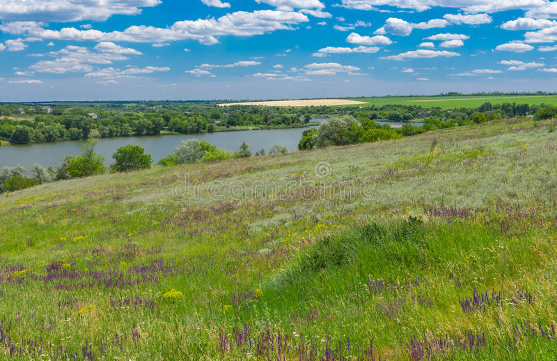 Landscape with Suha Sura river in Vasylivka village near Dnepr city, central Ukraine stock photo