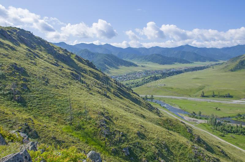 Landscape summer in Mountains Altai Russia the top view. Landscape summer Mountains Altai Russia the top view royalty free stock photo