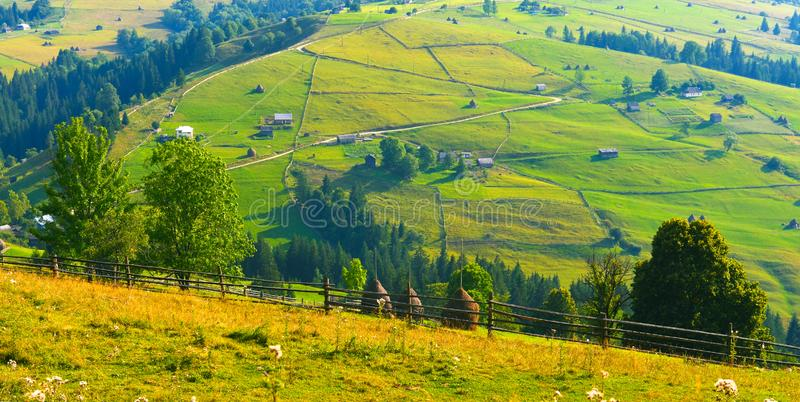 Landscape of summer mountains in sunny weather. stock photos