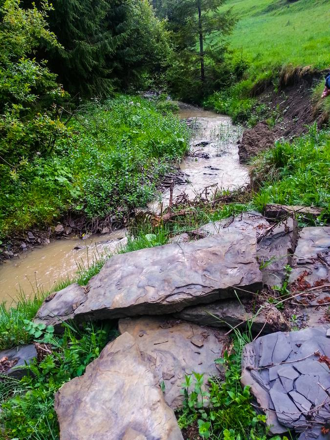 Landscape of summer creek of a mountain river royalty free stock photo