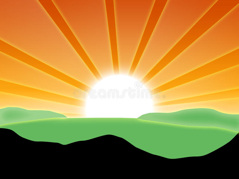 Landscape with sun. Rays of the sun over the hills vector illustration