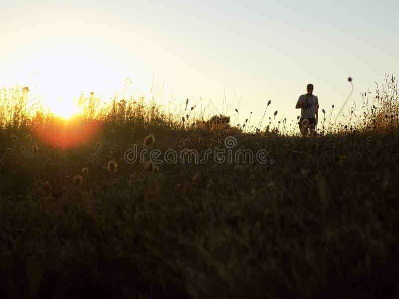 landscape, sun, figure, sunset, stock image
