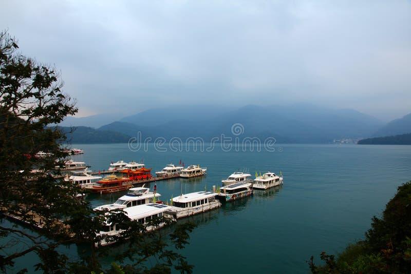 Landscape of Sun-Moon Lake in Taiwan. Boat yard in Taiwan at Sun Moon Lake stock photo