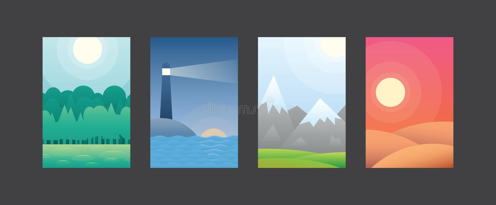 Green forest, lighthouse in sea, mountain peaks snow and sandy desert vector royalty free illustration