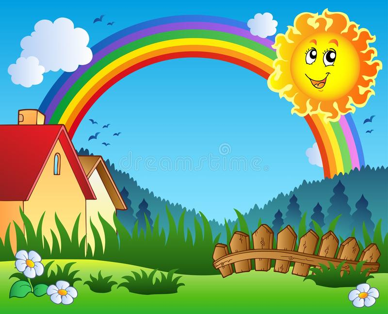 Download Landscape With Sun And Rainbow Stock Vector - Illustration of happiness, meadow: 18879707