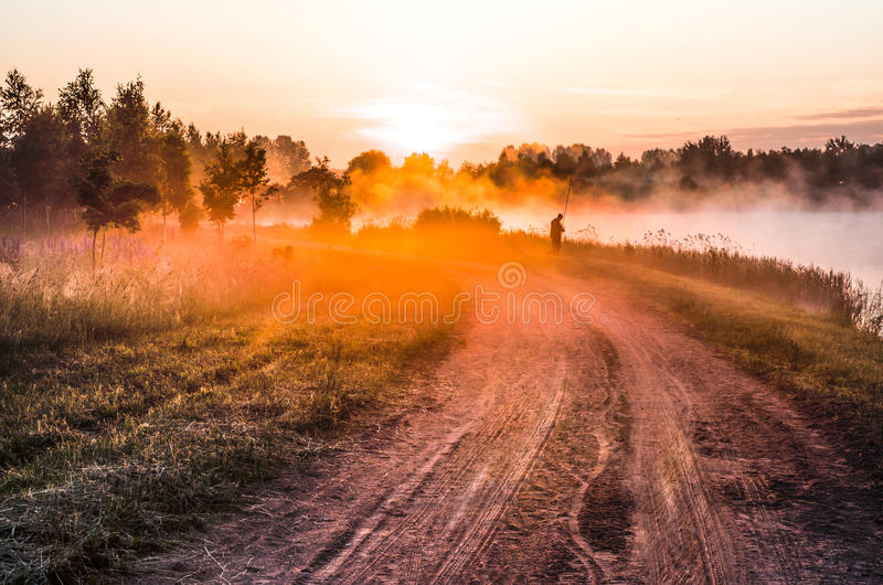 Download Landscape, Sunny Dawn With Road And Fisher Stock Image - Image of mist, golden: 31675021