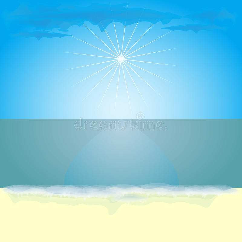 Landscape of a sunny, hot day at sea. Background for desktop or design with space for text. Vector. Illustration stock illustration