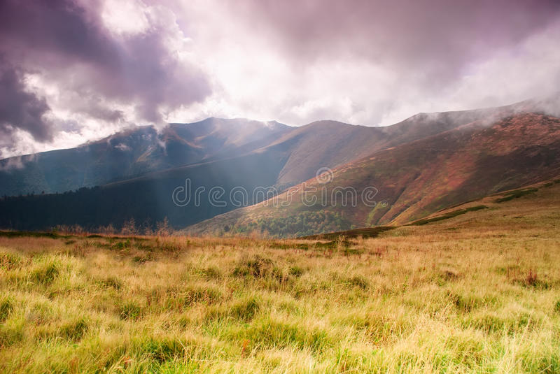 Landscape With Sunrays Royalty Free Stock Photos