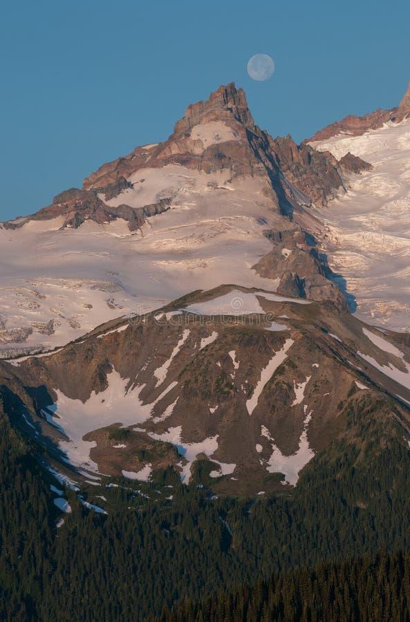 Full Moon over Mt Ranier stock images