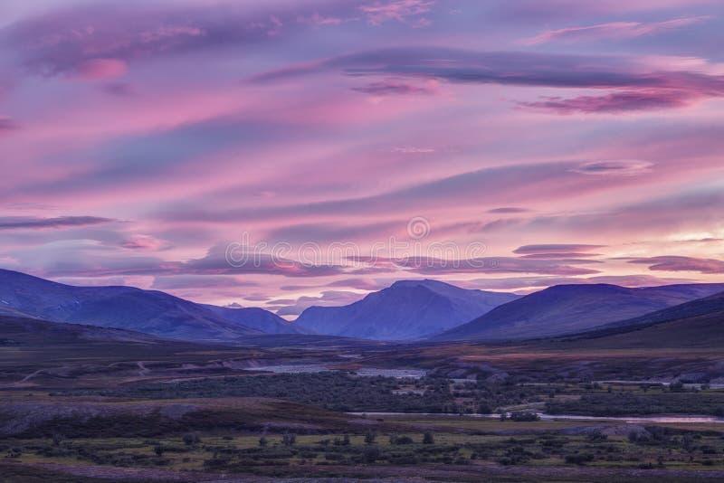 Landscape at sunrise,  mountains, Yamal. Landscape at sunrise,  mountains, Russia, Yamal royalty free stock photography