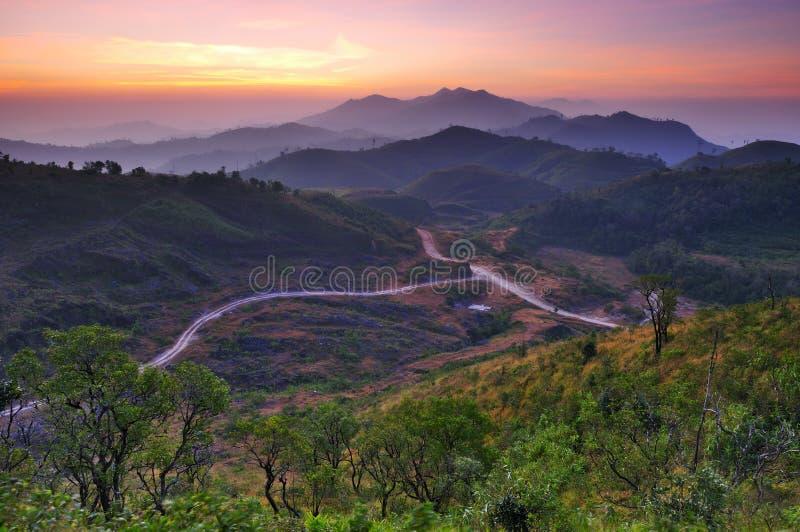 Landscape of sunrise over mountains in Kanchanabur royalty free stock image