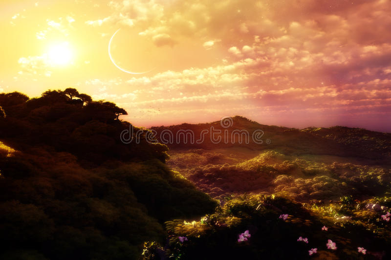 Landscape With Sunset stock photos