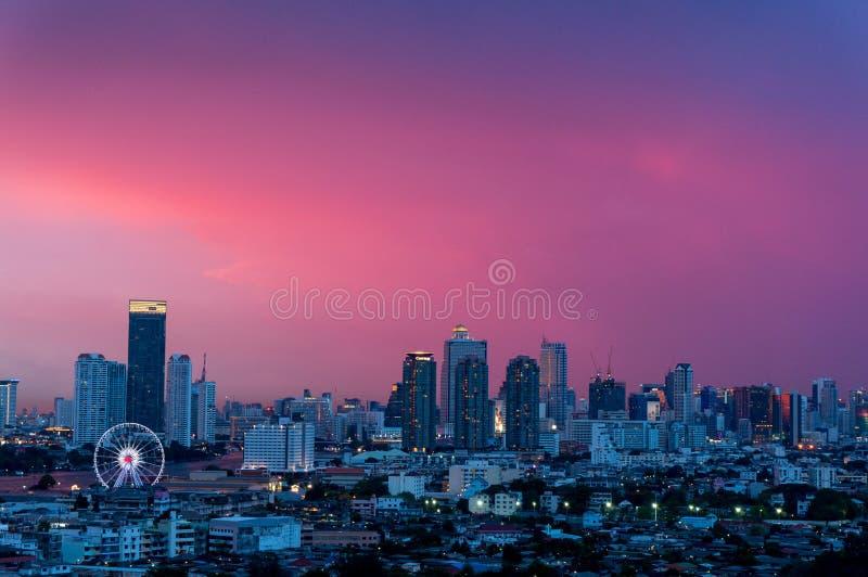 Landscape sunset, Bangkok City View stock photos