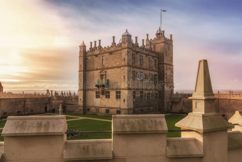 Landscape sunset in Bolsover Castle royalty free stock images