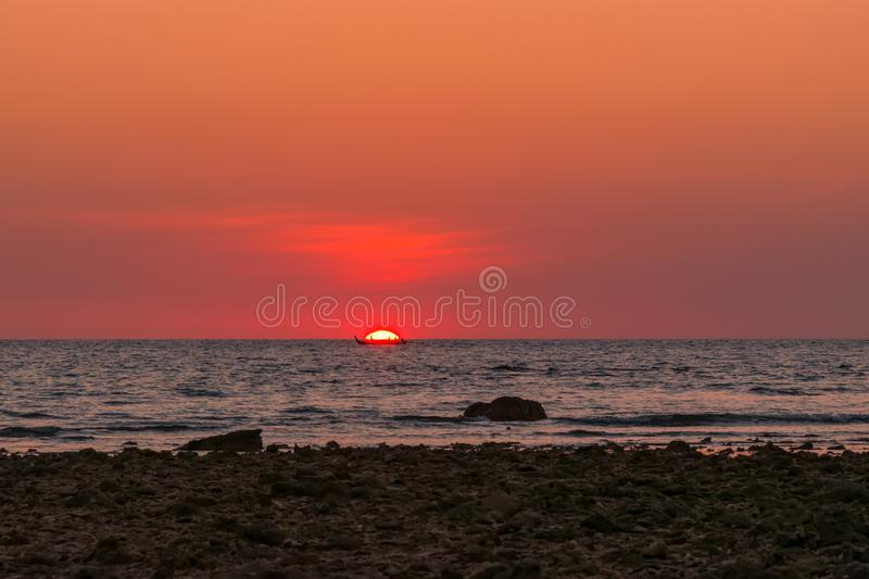 Landscape sunset at Cape Coral in the Andaman sea at Phang Nga,Southern of Thailand stock photos