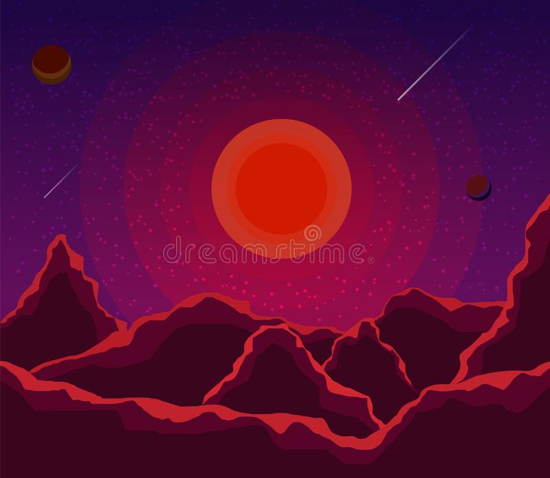 Landscape with sunset, planets and starry sky. Space landscape  in shades violet, purple. Nature background. vector eps10 royalty free illustration