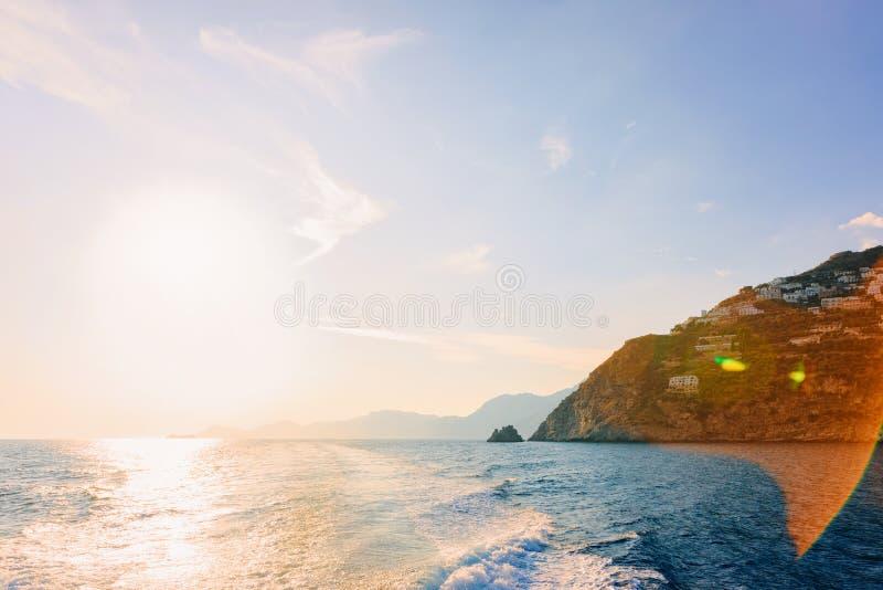 Landscape with sunset at Positano town on Amalfi Coast royalty free stock image