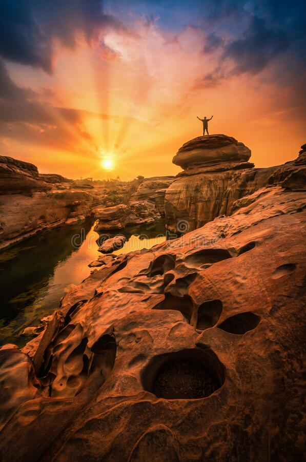 Landscape of sunset at Sam Phan Bok in Ubonratchathani unseen in Thailand. The Grand Canyon of Thailand.  royalty free stock photo