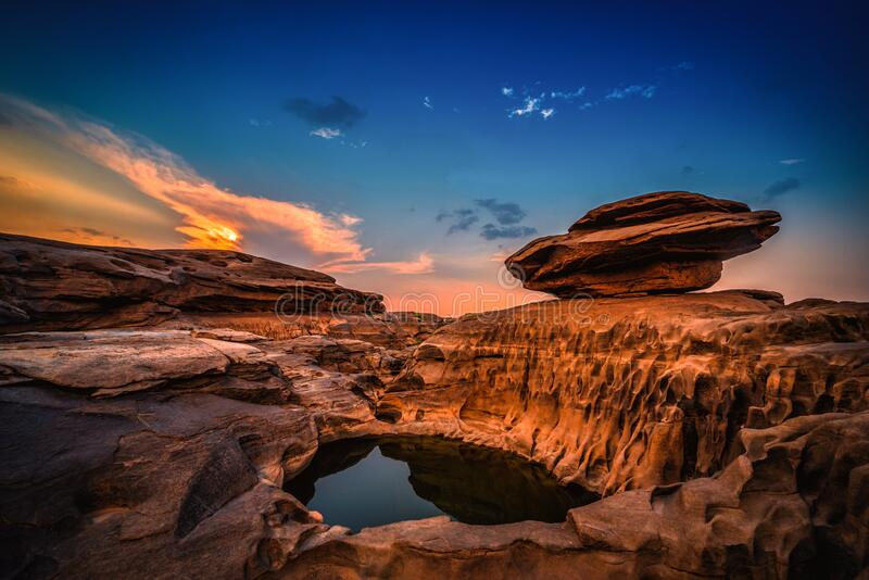 Landscape of sunset at Sam Phan Bok in Ubonratchathani unseen in Thailand. The Grand Canyon of Thailand.  stock image