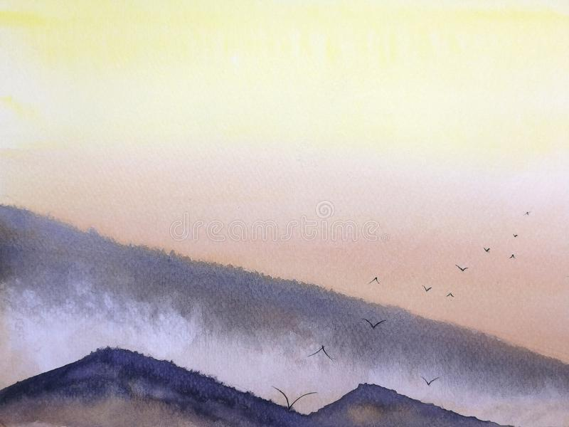 landscape sunset or sunrise on the mountain fog with birds flying in the sky. stock illustration
