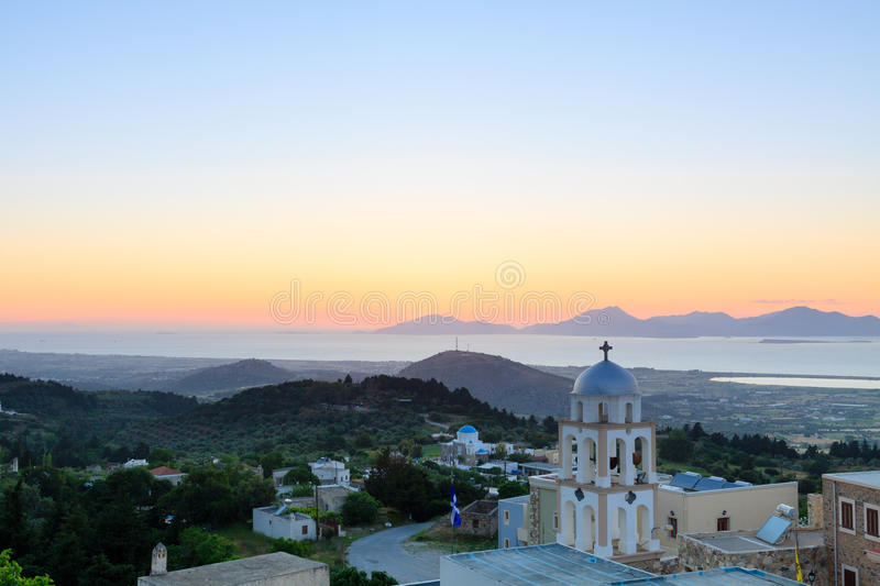 Landscape. Sunset view from Asfendiou village in Kos island Greece stock image
