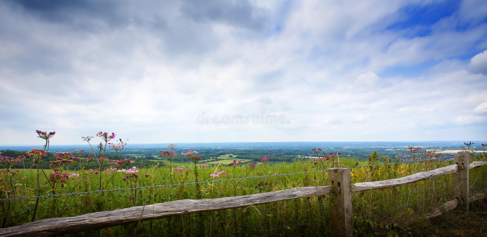 Landscape of the Sussex Downs. With fence in foreground, England royalty free stock images
