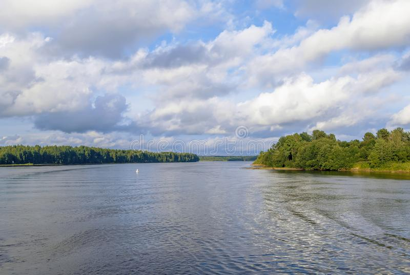 Svir river, Russia. Landscape with Svir river in summer, Russia stock photo