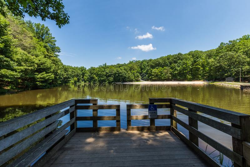 Landscape of the Swimming and Fishing Area in Colonel Denning St stock photography