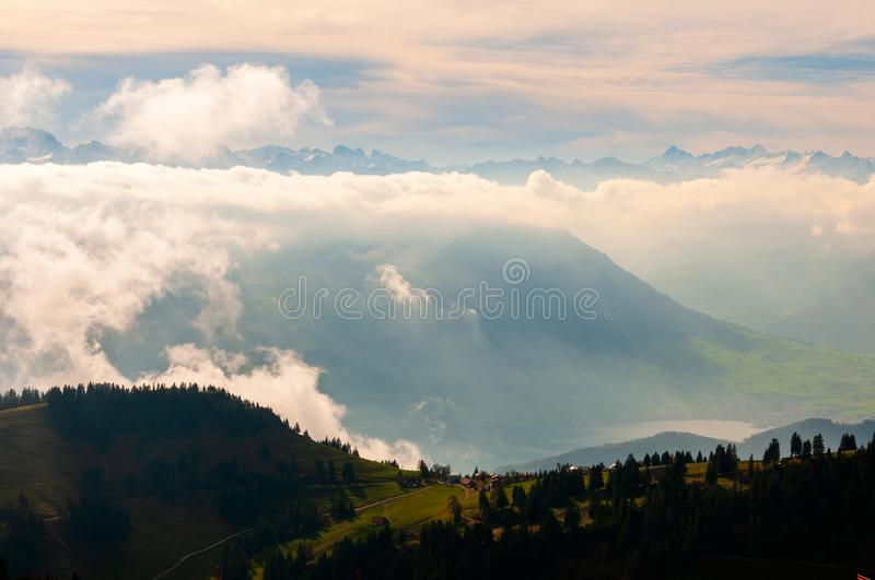 Swiss Alps and Lake Lucerne seen from Rigi Mountain, Switzerland royalty free stock images