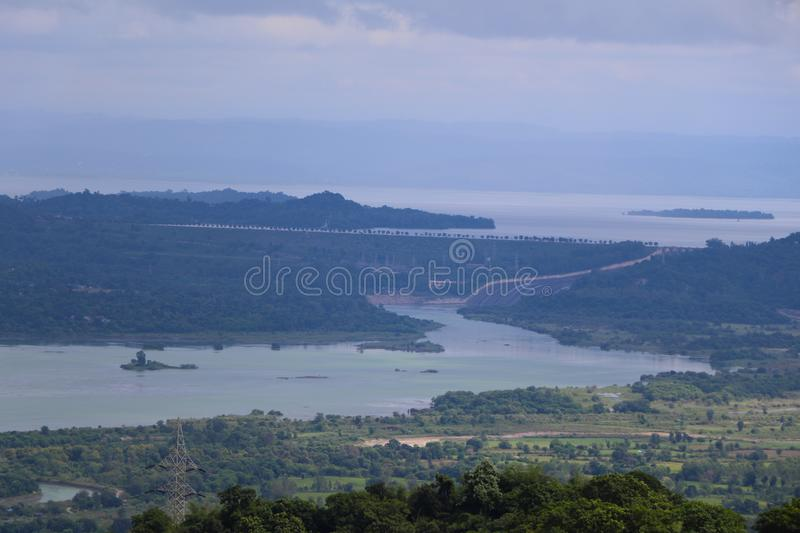 Landscape in Talwara, Punjab, India - Natural Background with Hills, Greenery and Sky. The image can also be used as a natural background royalty free stock images