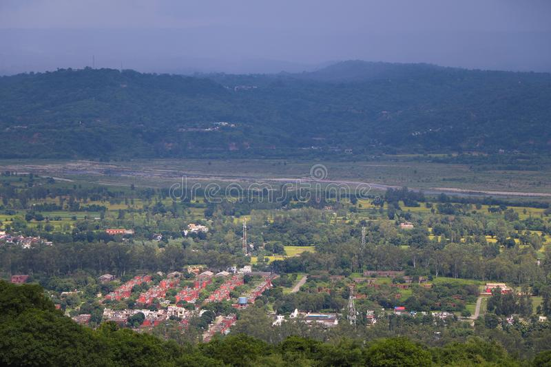 Landscape in Talwara, Punjab, India - Natural Background with Hills, Greenery and Sky. The image can also be used as a natural background royalty free stock photo