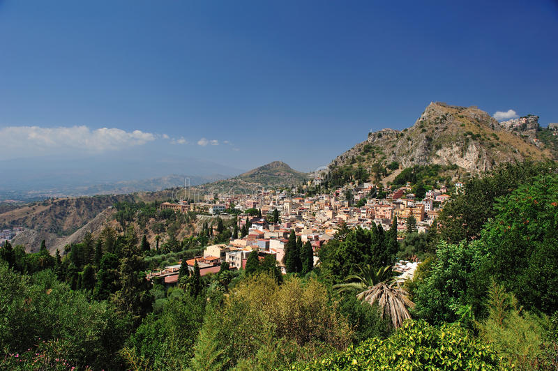 Landscape of taormina royalty free stock photo