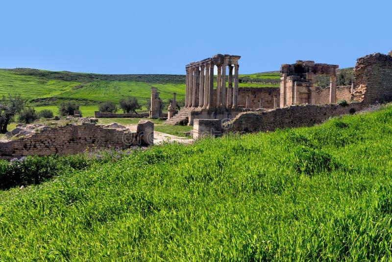 Landscape of Temple of Juno in Dougga, Tunisia. Landscape of ruins of the Temple of Juno in Dougga, Tunisia stock images