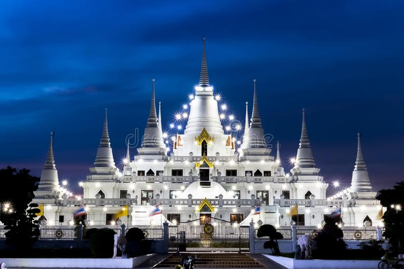 Landscape, Temple wat asokaram ,Thailand, in Samut Prakan Asia 2017 White Pagoda On the back of the sky. royalty free stock photography