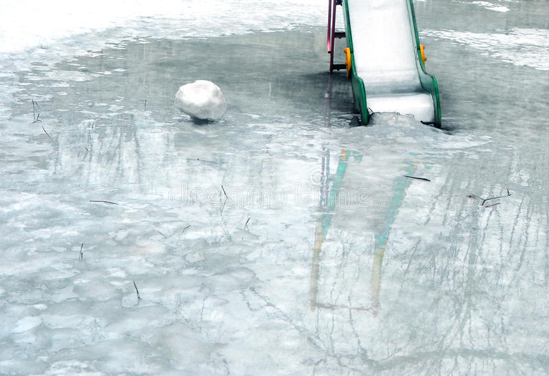 Landscape. Thaw at a playground 1. stock images