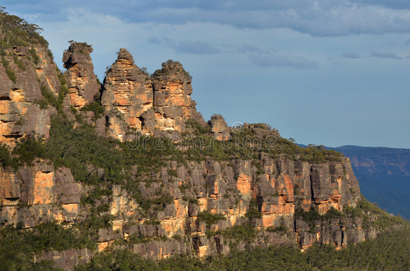 Landscape of The Three Sisters rock formation in the Blue Mountains of New South Wales Australia stock photo