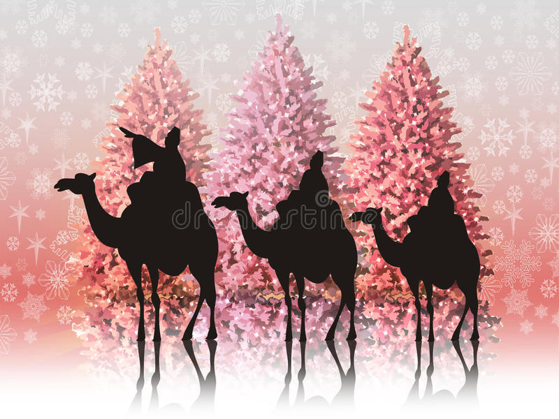 Landscape with the three wise men stock photo