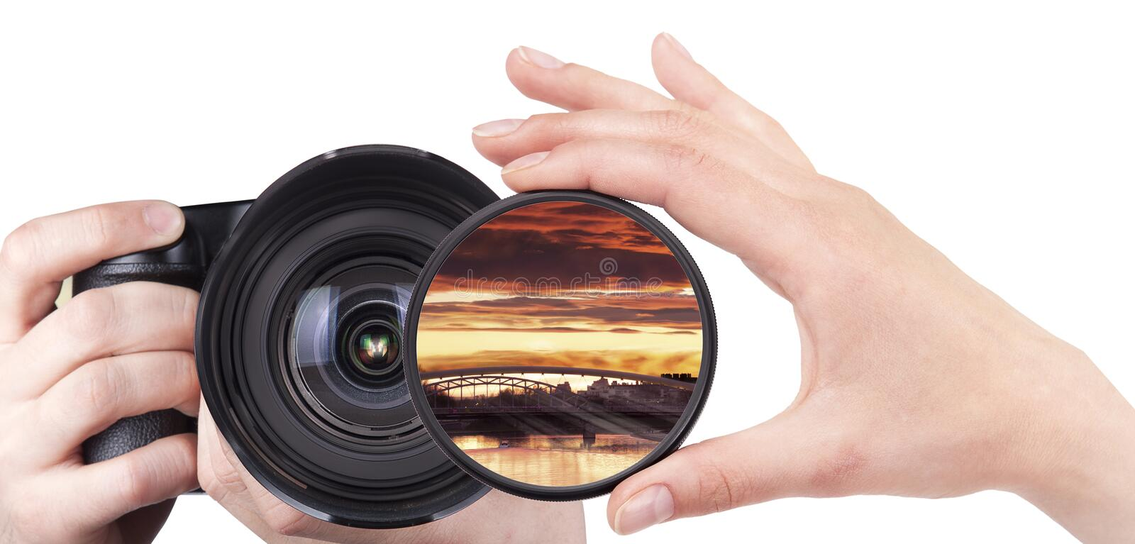 Landscape throw camera filter isolated. On a white background royalty free stock images
